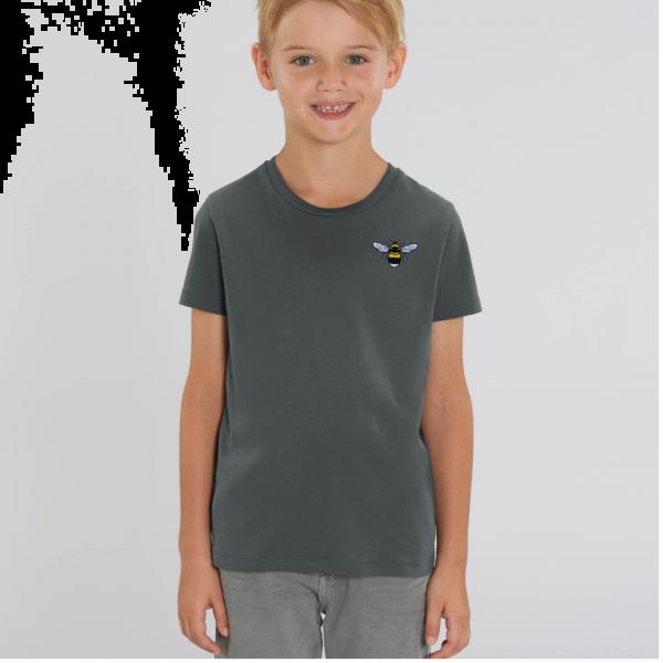 bee kids unisex organic cotton t shirt Anthracite