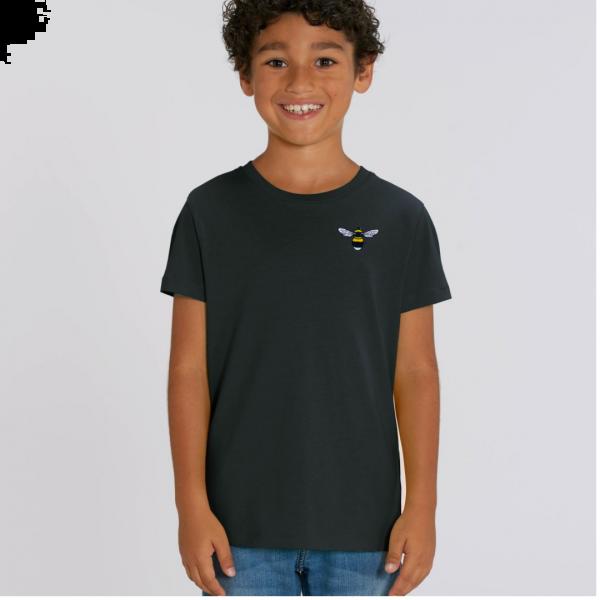 bee kids unisex organic cotton t shirt Black