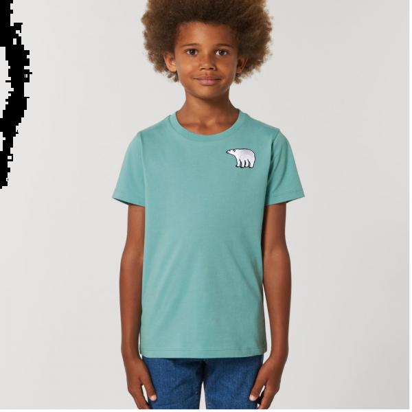 polar bear kids - unisex organic cotton t shirt Teal Monstera