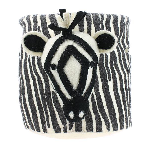 Zebra with Stripe Print Storage Bag