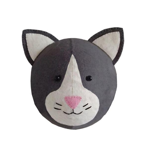 Mini Black and White Cat Head