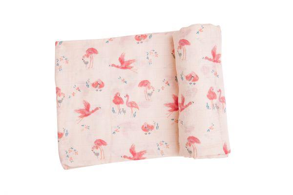 Flamingos Pink Print Swaddle