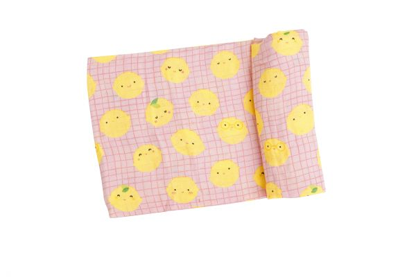 Pink Lemon Print Swaddle
