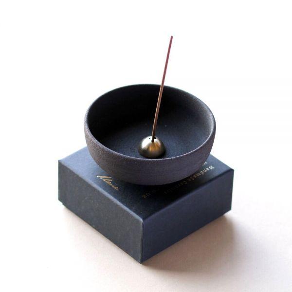 Raw Black Stoneware Incense Bowl & Dome Incense Stick Holder