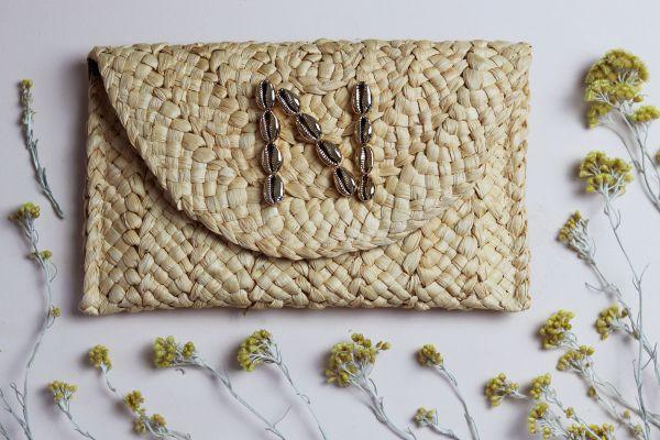 Cowrie Shell Monogram Letter Woven Straw Raffia Clutch Bag