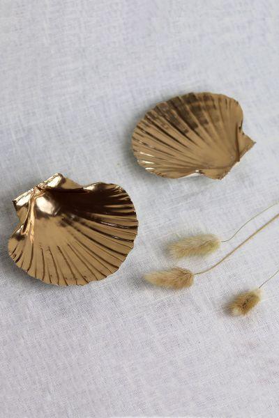 Gold Scallop Shell Jewellery Trinket Dish