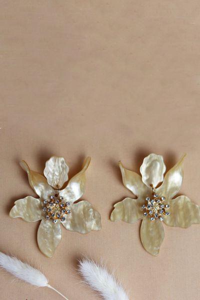 Oyster Flower Acrylic Diamanté Drop Earrings