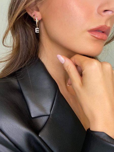 Letter Initial Gold Hoop Zirconia Personalised Huggie Earrings Gold