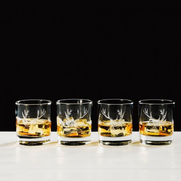 Stag Engraved Style Glass Tumbler Gift Set (Set of 4)