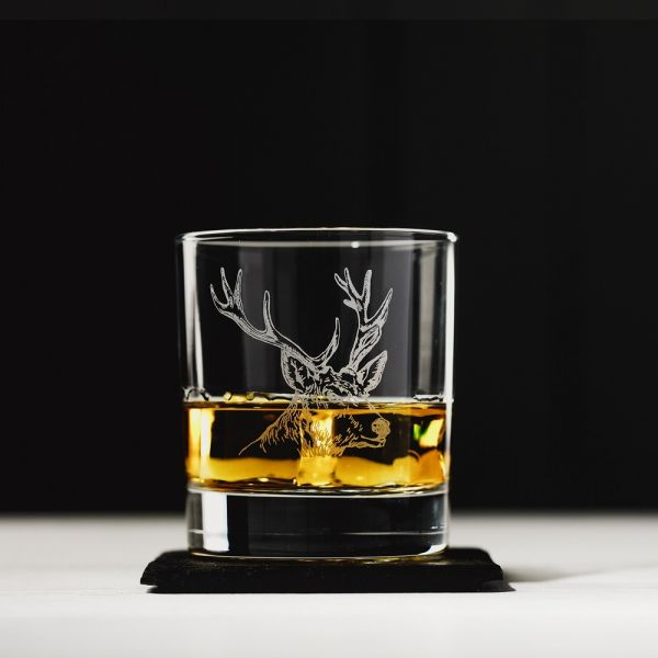 Stag Engraved Style Glass Tumbler with Slate Coaster Gift Set