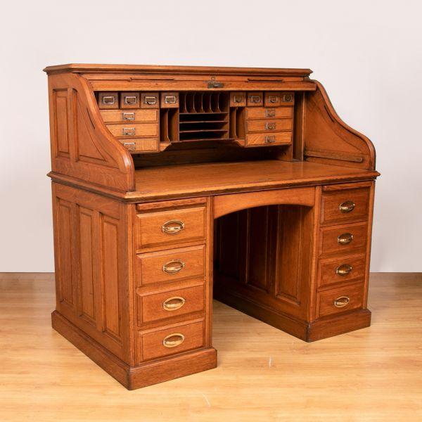Antique Oak Roll Top Desk, circa 1890