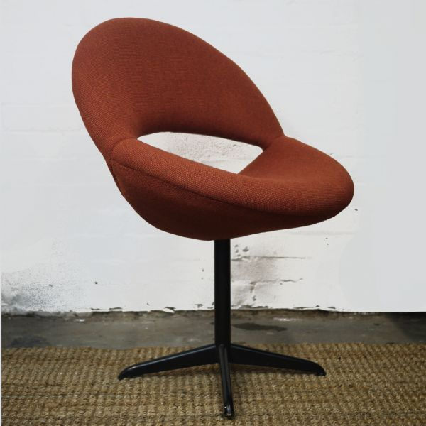Pair of Dark Orange Bucket Chairs in Handwoven Fabric, 1960s