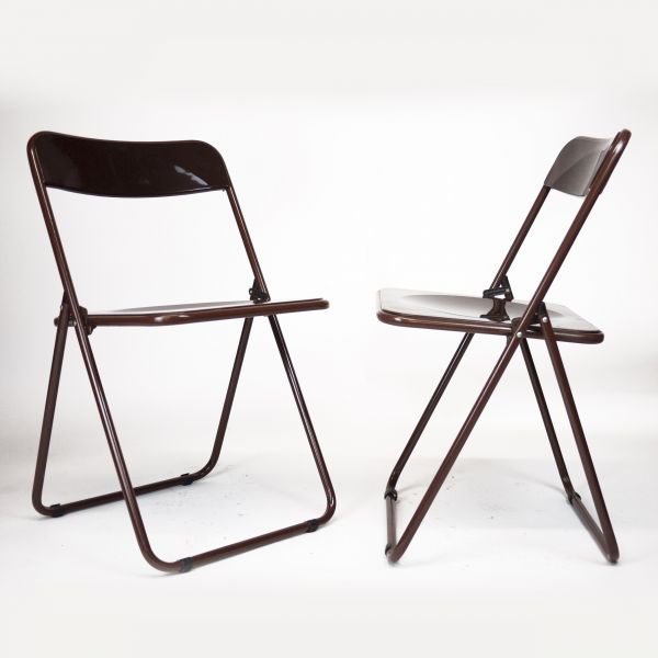 Vintage Brown Plastic Folding Chairs, 1970s, Set of 2