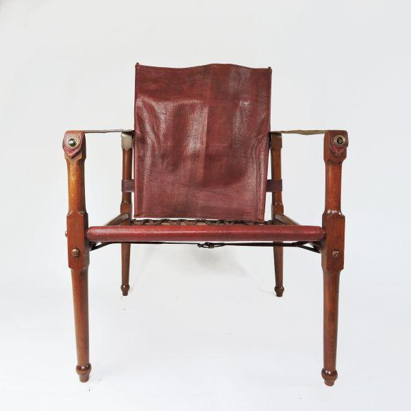 Maroon Leather and Wood Safari Chair, 1930s