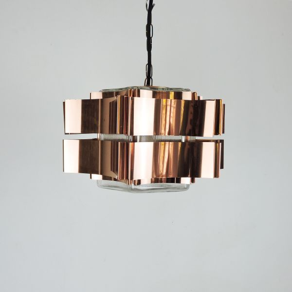 Six Pointed Copper & Glass pendant Light, 1970s