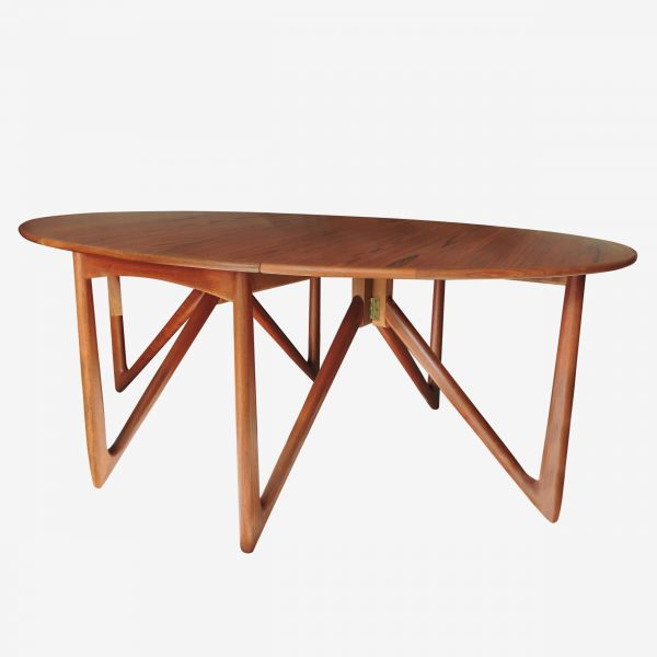 """Danish Teak """"Gateleg"""" Drop Leaf Dining Table by Niels Kofoed, 1960s"""
