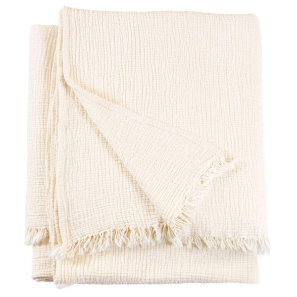 Chalk Crinkle Cotton Throw Blanket