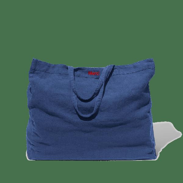 Navy blue washed linen Cabas