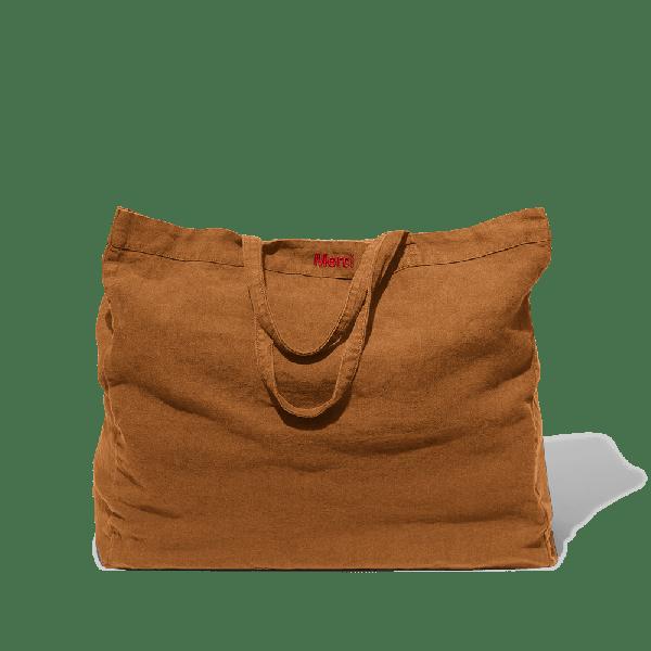 Sienna brick washed linen tote bag