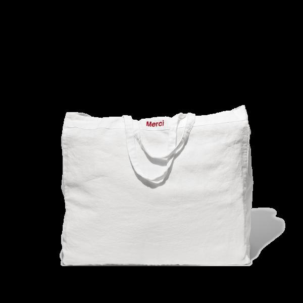 Optical white washed linen Cabas