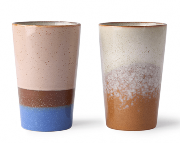 Ceramic 70's Set Of 2 Tea Mugs