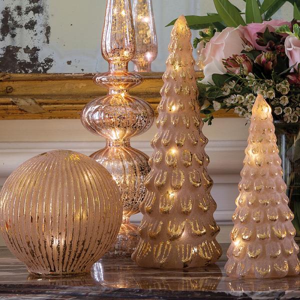 Mercurised glass luminous ball pink & golden
