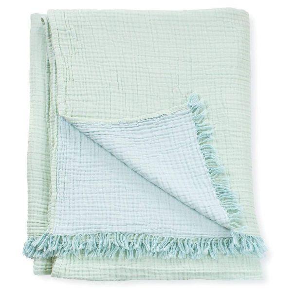 Lagoon Crinkle Cotton Throw Blanket