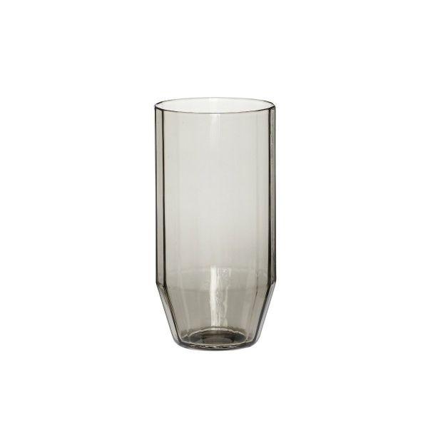 ANGULAR GLASS TUMBLER - SMOKED GREY - BY HÜBSCH glass HUBSCH
