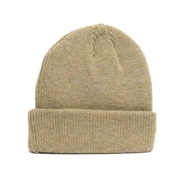 details of natural merino wool beanie hat in beige