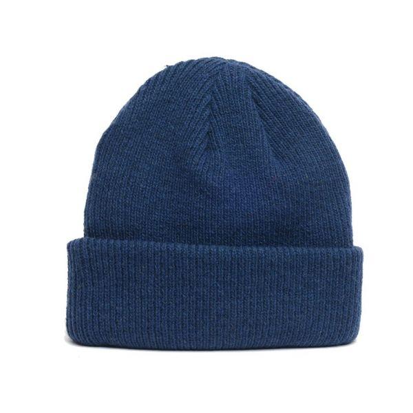 details of natural merino wool beanie hat in dark blue