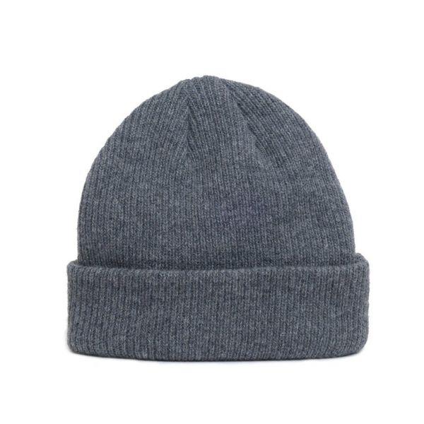 Close up of natural merino wool beanie hat in dark grey