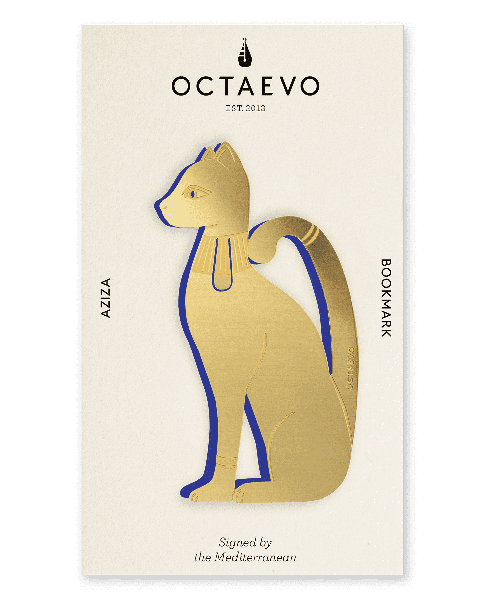 Picture of a finely-cut metal gold cat bookmark by Octaevo available at cuemars.com