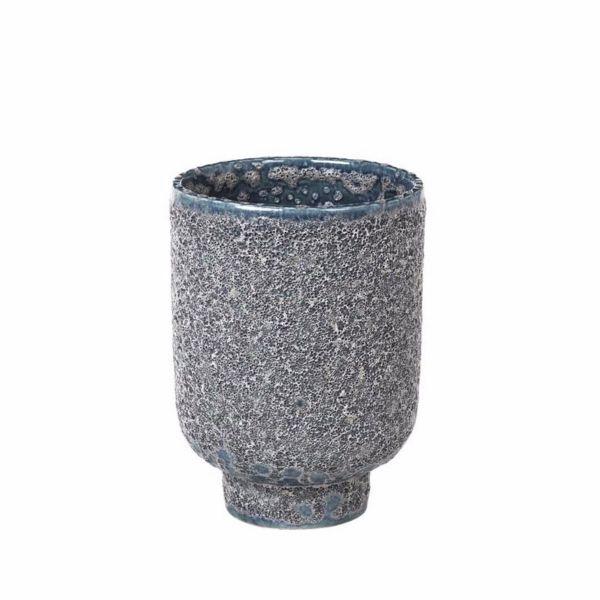 "BROSTE COPENHAGEN - ""CAROLINE"" Grey/turquoise stoneware planter planter Broste Copenhagen"
