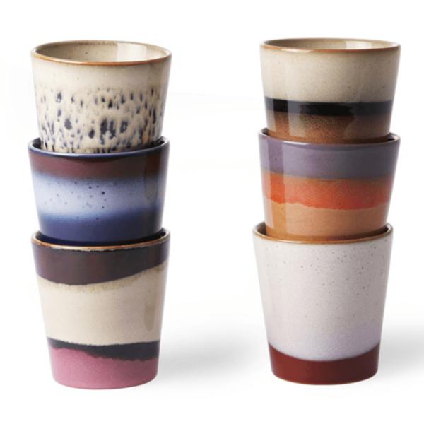 CERAMIC 70'S MUGS SET OF 6 cup I am Nomad