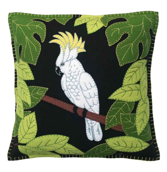 Jan Constantine Tropical Cockatoo Cushion (Black)