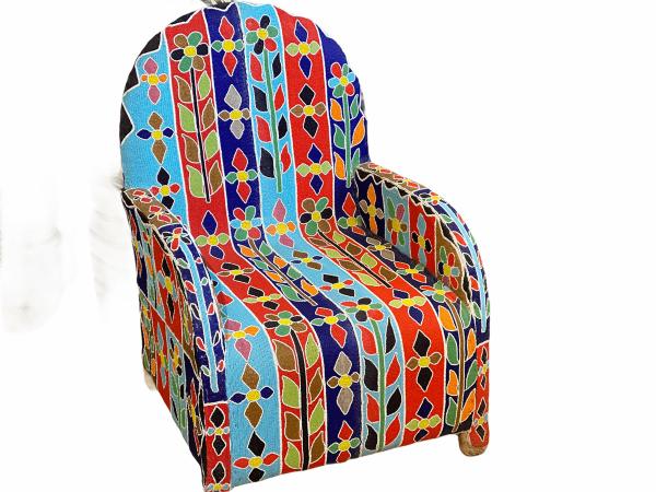 Yoruba Royal Beaded Chair - Floral