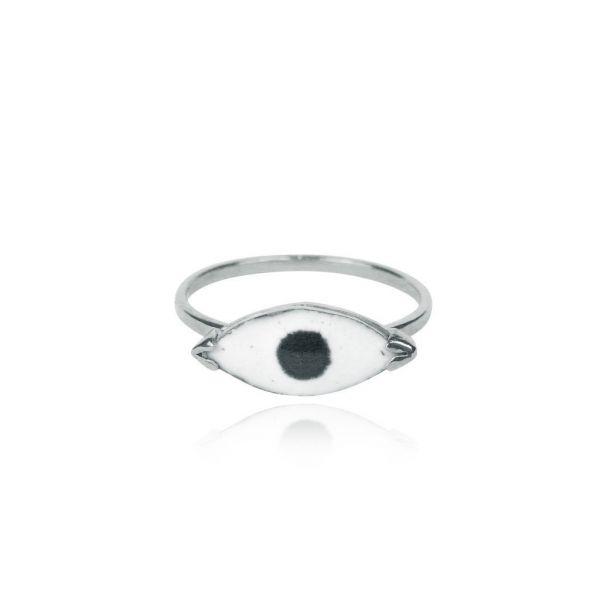 Momocreatura Enamel Eye Ring Silver