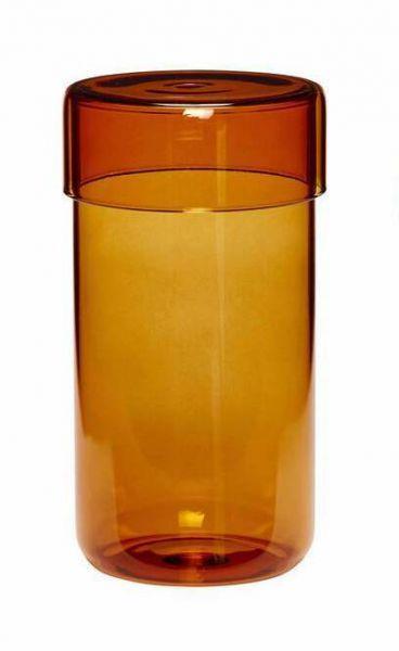 GLASS STORAGE JAR - LARGE AMBER - BY HÜBSCH STORAGE JAR HUBSCH