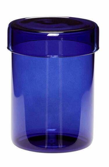 GLASS STORAGE JAR - MEDIUM BLUE - BY HÜBSCH STORAGE JAR HUBSCH