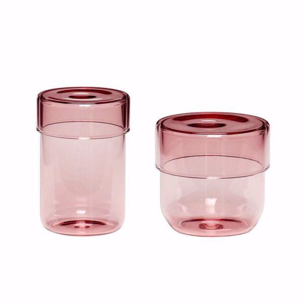 GLASS STORAGE JAR - SMALL PINK - BY HÜBSCH STORAGE JAR HUBSCH