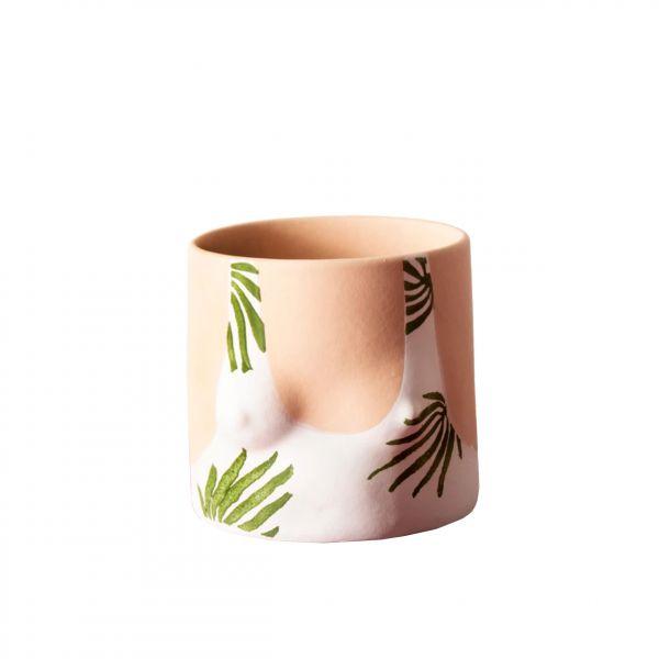 Tropical leaves top handmade ceramic plant pot designed by Group Partner