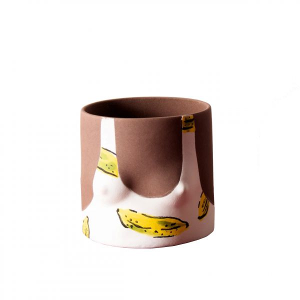 Banana Leaves Handmade dark tone ceramic plant pot by Group Partner