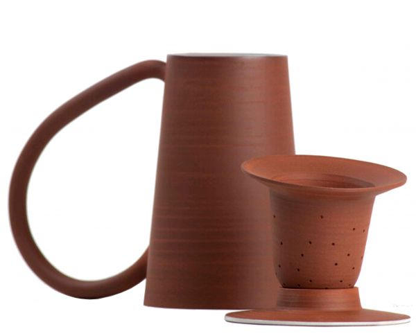 Hand thrown in red stoneware Tea Kit with lid