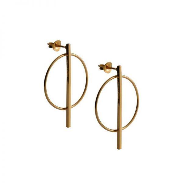 OLIVIA - GOLD HOOP DROP EARRINGS