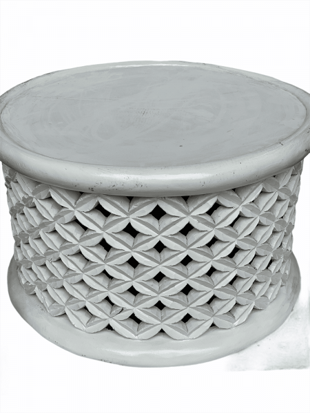 Bamileke Table - L- 60cm - White handmade