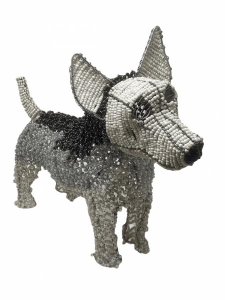 Hand Beaded Dog Sculpture