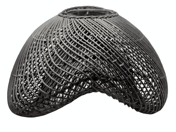 Rattan clam shell pendant