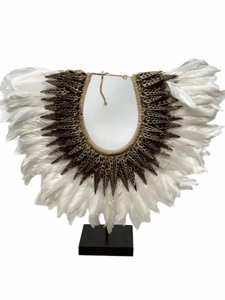 Handmade Dark Shell & White Feather necklace