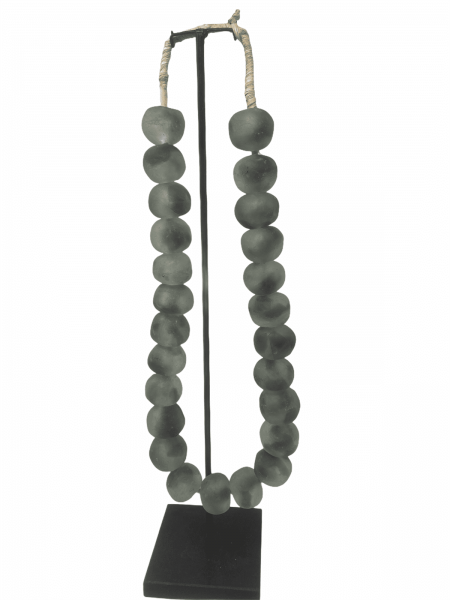 Ghana Glass beads - Grey/Clear Large