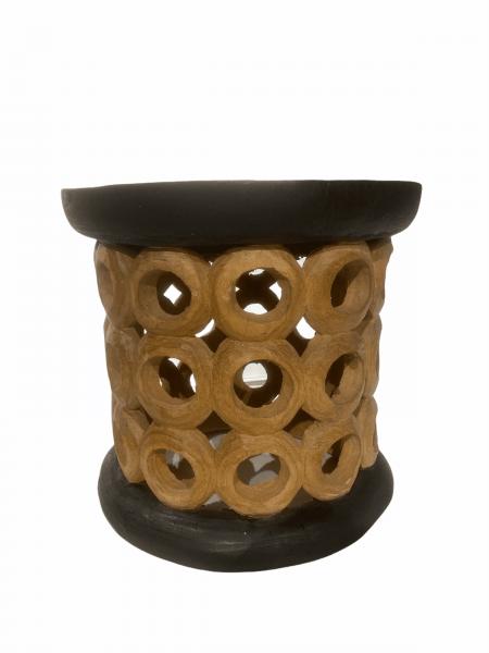 Bamileke Stool \ Table - 40cm - Natural & Black